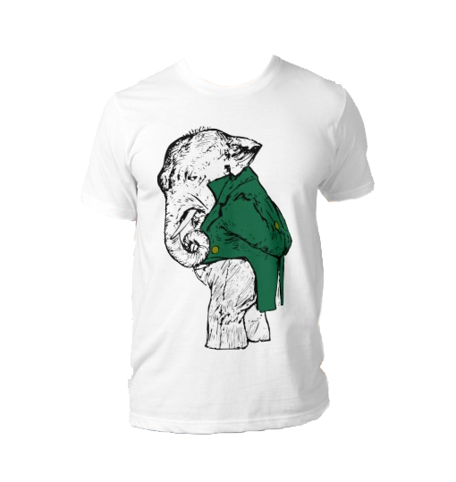 The Unimpressed Elephant – Green Jacket T-Shirt